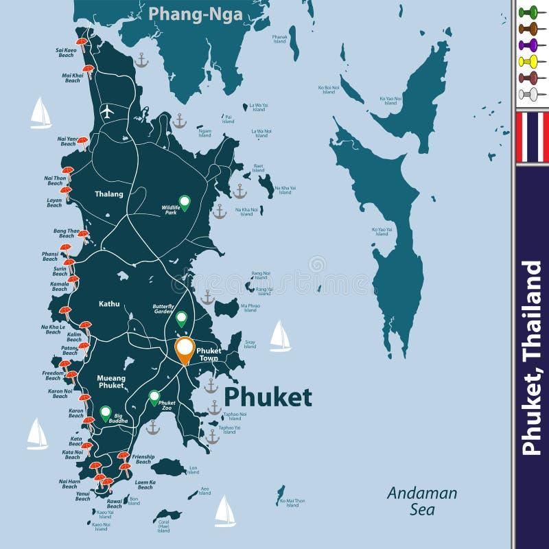 Mapa Phuket prowincja, Tajlandia ilustracji
