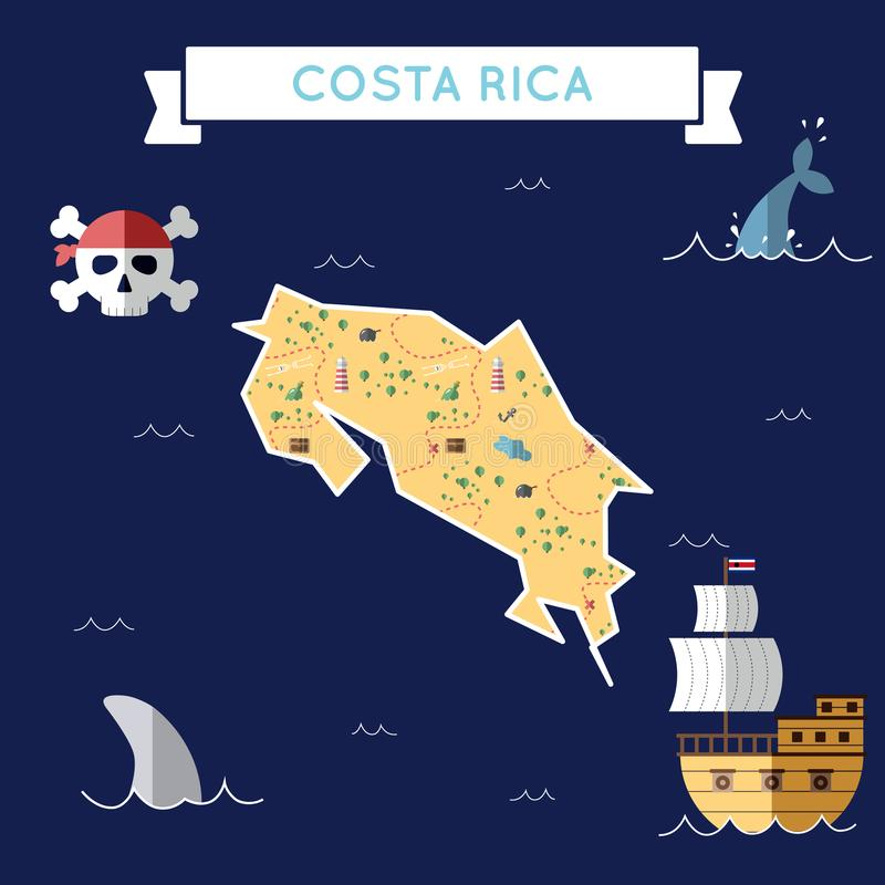 Mapa plano del tesoro de Costa Rica stock de ilustración