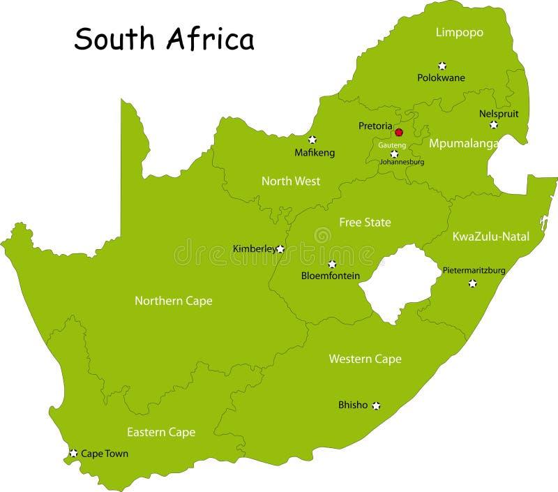 Mapa Południowa Afryka ilustracja wektor