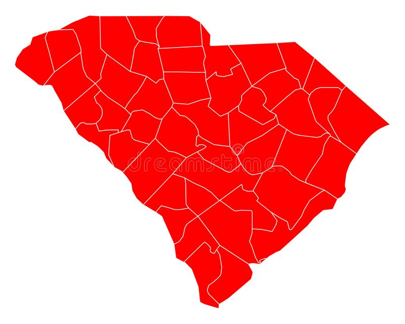 Mapa Południowa Karolina royalty ilustracja