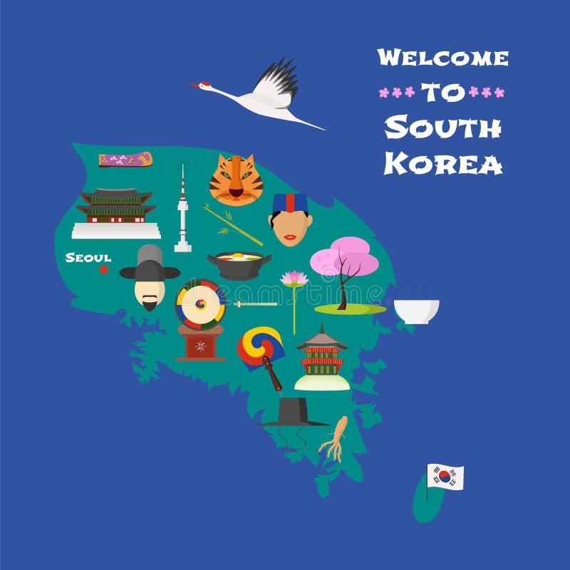 Mapa Południowa Korea wektorowa ilustracja, projekta element ilustracja wektor
