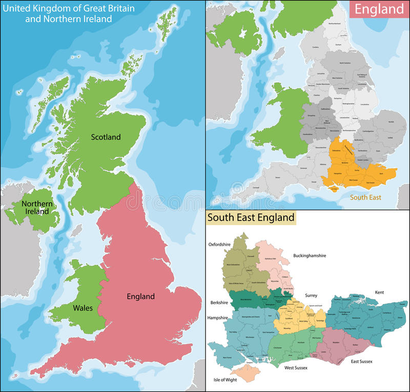 Mapa Południowo-wschodni Anglia ilustracji