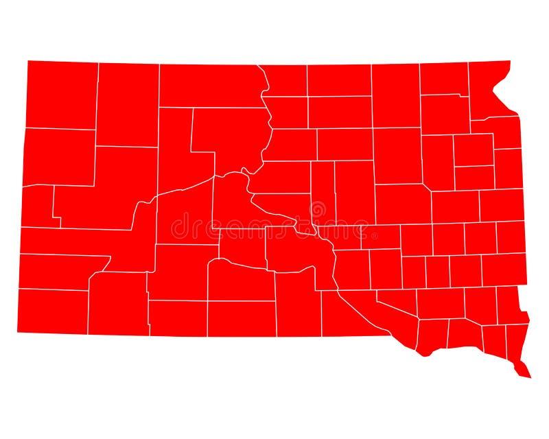 Mapa południowy Dakota ilustracji