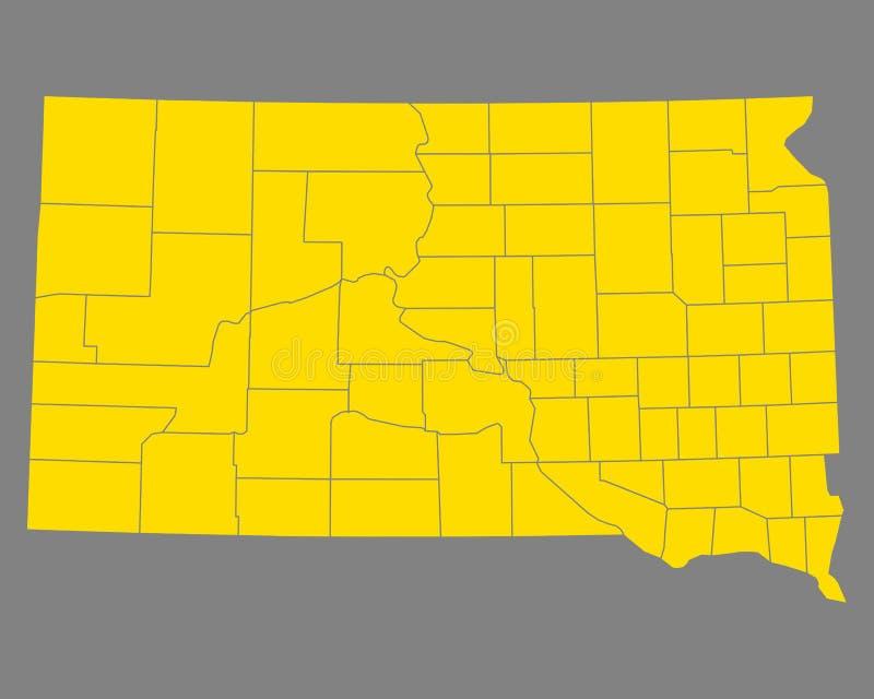 Mapa południowy Dakota ilustracja wektor
