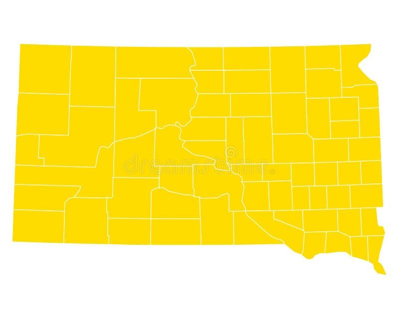 Mapa południowy Dakota royalty ilustracja