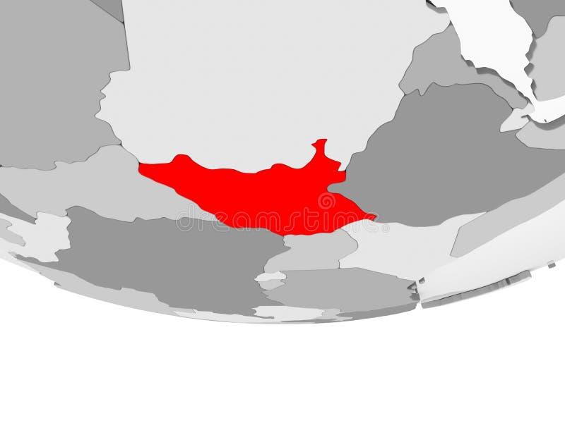 Mapa Południowy Sudan na popielatej politycznej kuli ziemskiej ilustracja wektor