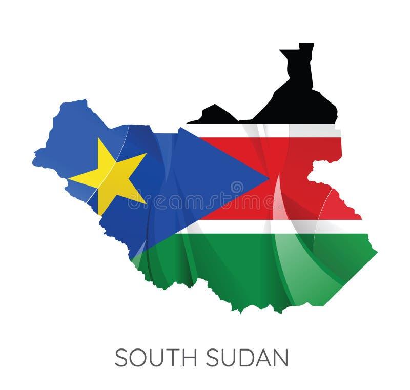 Mapa Po?udniowy Sudan Z flag?, Wektorowa ilustracja ilustracja wektor