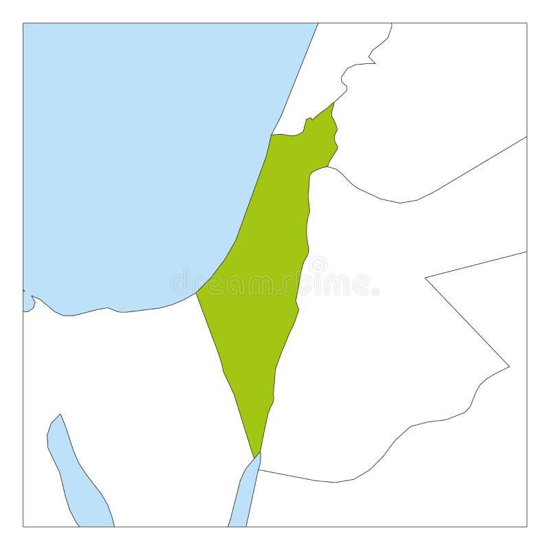 Mapa podkreślająca z sąsiednimi krajami Izrael zieleń ilustracji