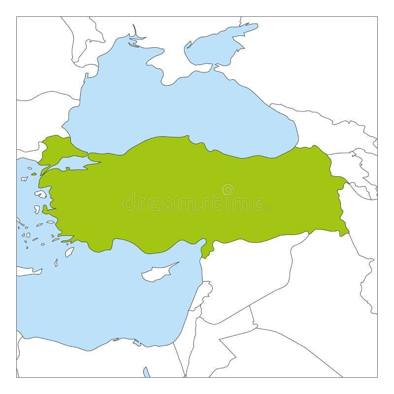Mapa podkreślająca z sąsiednimi krajami Turcja zieleń royalty ilustracja