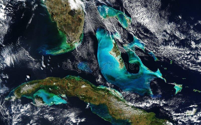 Mapa pogody. S. stan Floryda, Kuba i Bahamy. Widok z przestrzeni kosmicznej obrazy stock