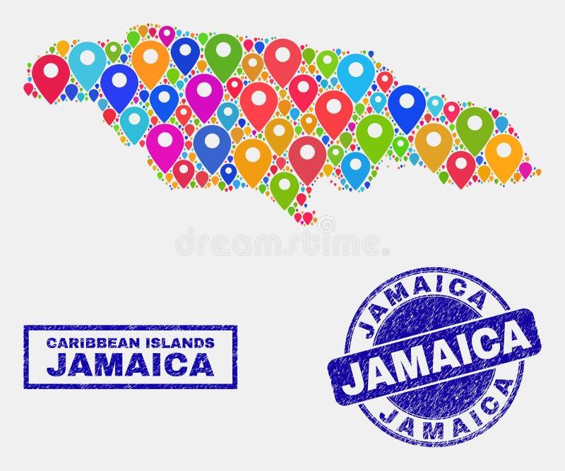Mapa pointerów kolaż Jamajka Grunge i mapy znaczki ilustracja wektor