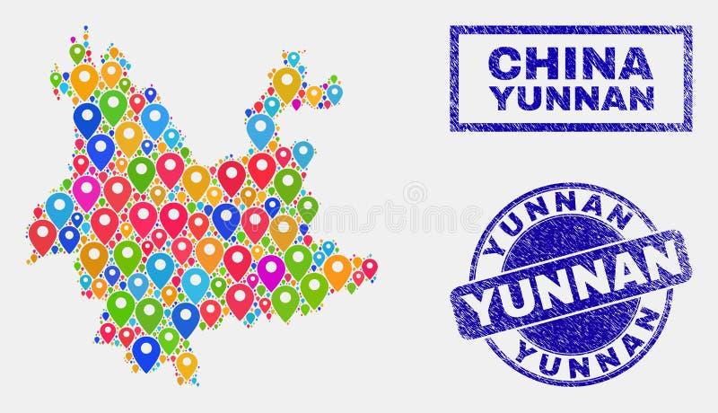 Mapa pointerów kolaż Yunnan prowincji mapa i Textured znaczki royalty ilustracja