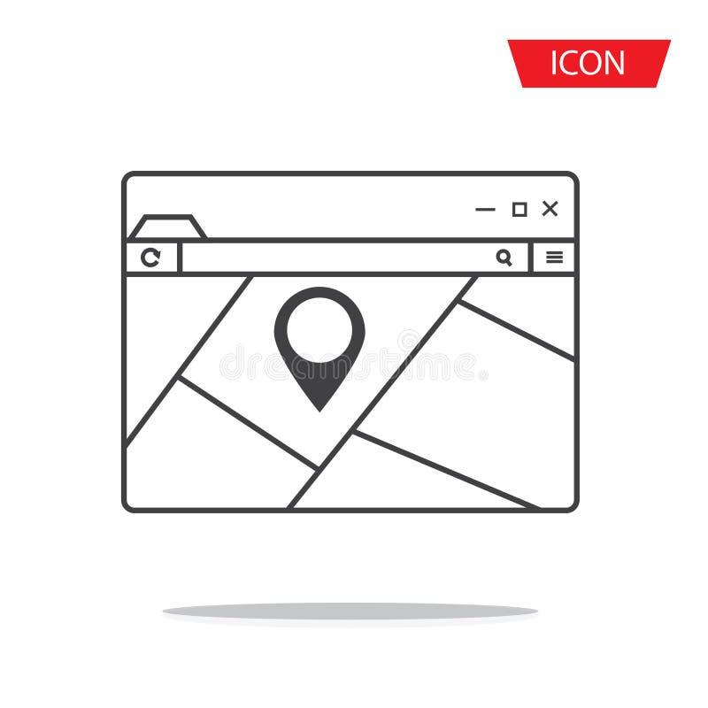 mapa pointer na wyszukiwarki ikony wektorze odizolowywającym obrazy royalty free