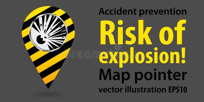 Mapa pointer Ryzyko wybuch Zbawcza informacja projekt przemysłowe również zwrócić corel ilustracji wektora S ilustracja wektor