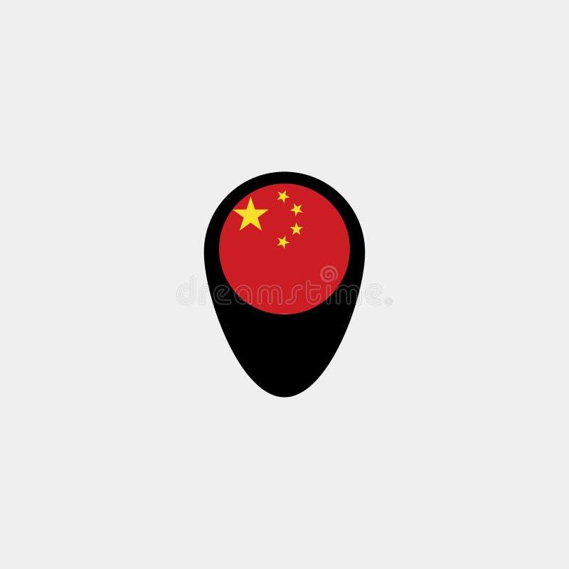 Mapa pointer z Chiny flaga na popielatym tle również zwrócić corel ilustracji wektora royalty ilustracja
