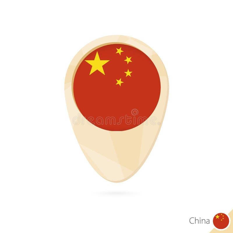 Mapa pointer z flagą Chiny Pomarańczowa abstrakcjonistyczna mapy ikona ilustracja wektor