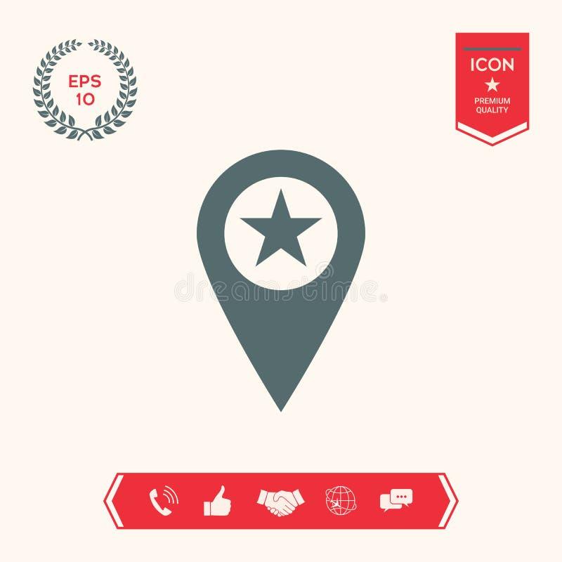 Mapa pointer z gwiazdą ilustracji