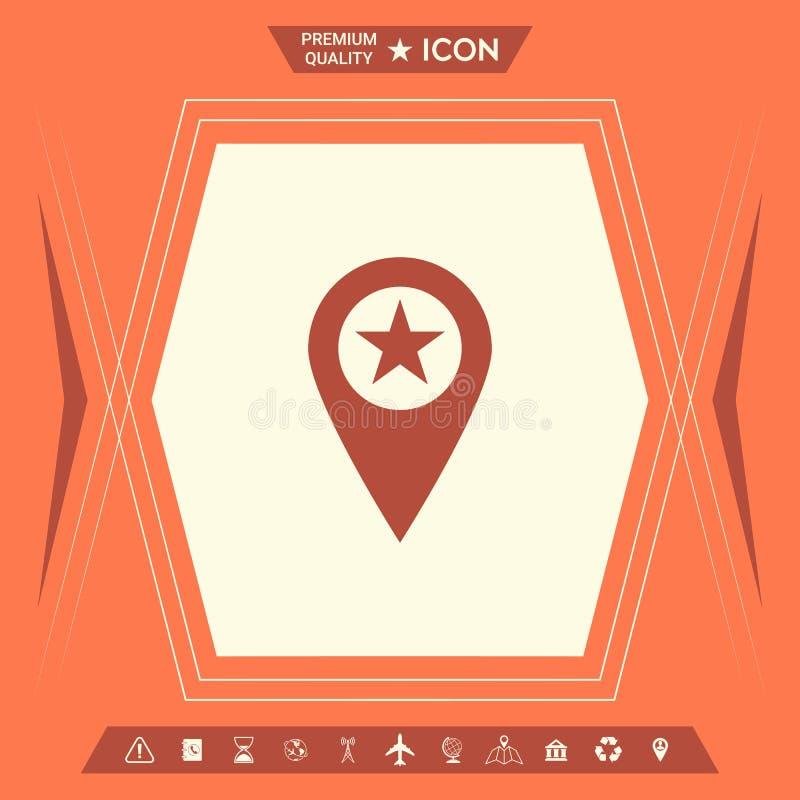 Mapa pointer z gwiazdą royalty ilustracja