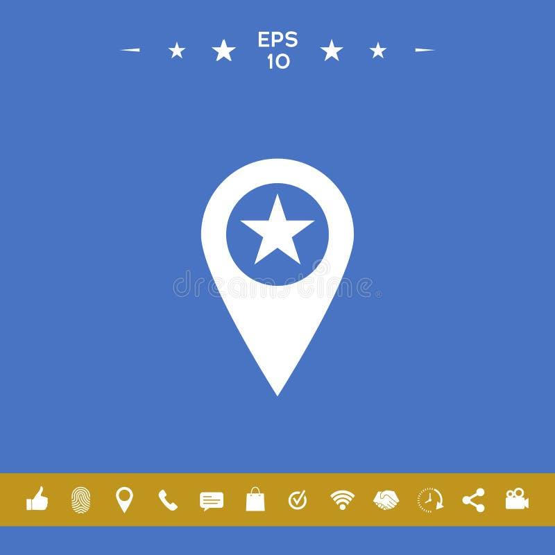 Mapa pointer z gwiazdą ilustracja wektor