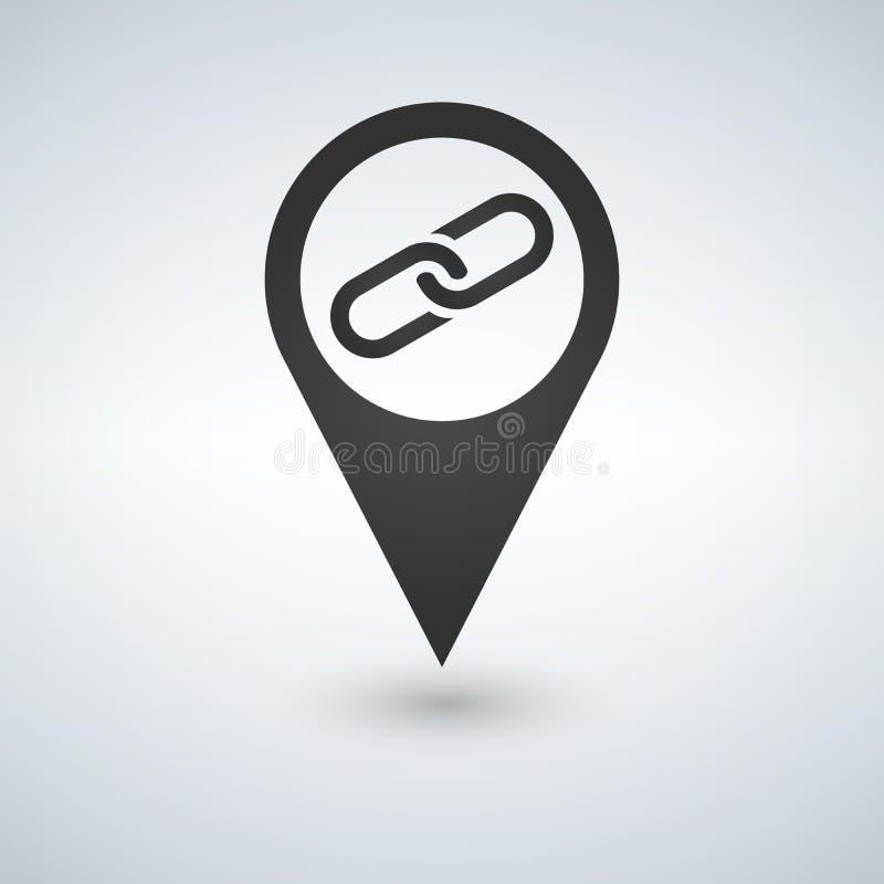 Mapa pointer z połączeniem ikona royalty ilustracja