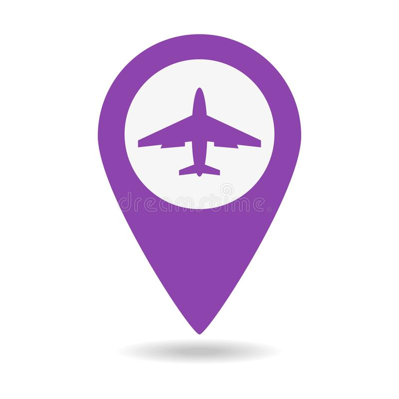 Mapa pointer z samolotową ikoną royalty ilustracja