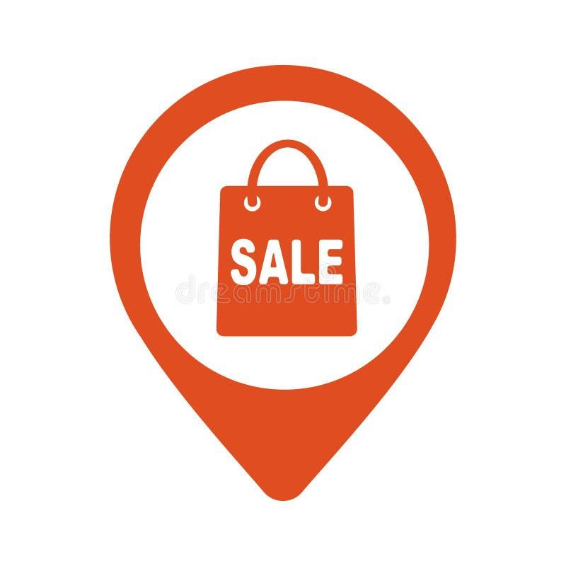 Mapa pointer z torba na zakupy ikoną również zwrócić corel ilustracji wektora ilustracji