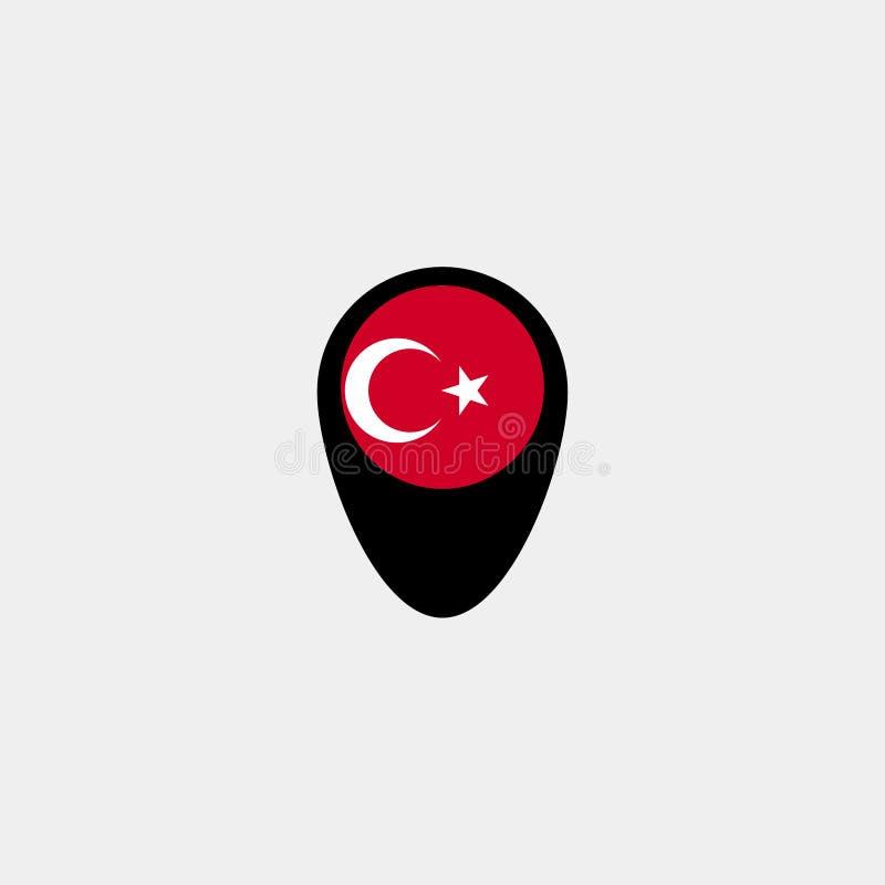 Mapa pointer z Turcja flaga na popielatym tle również zwrócić corel ilustracji wektora ilustracja wektor