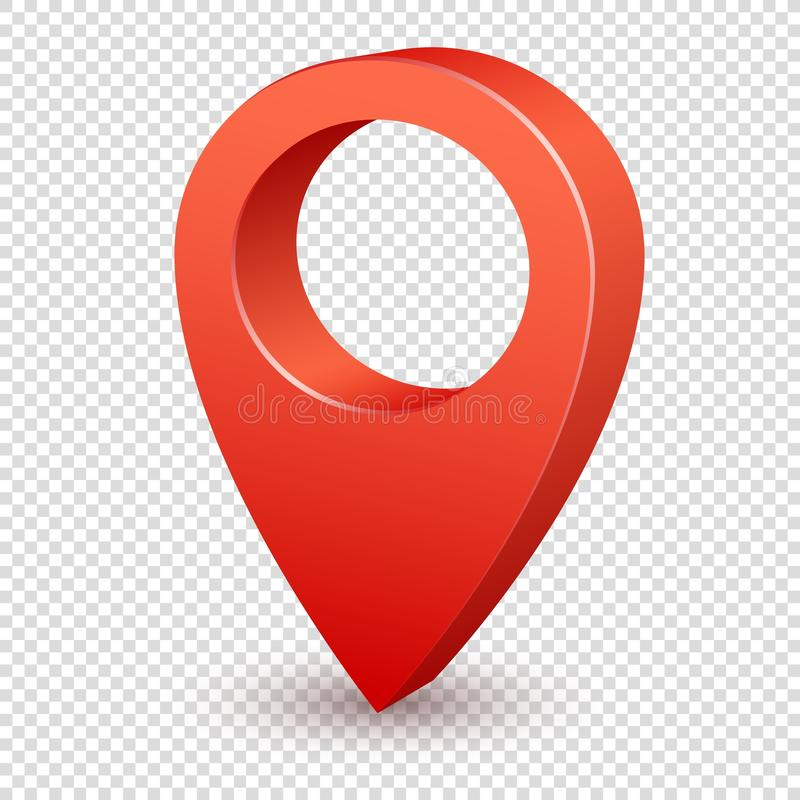 Mapa pointeru 3d szpilka Pointer czerwieni szpilki markier dla podróży miejsca Lokacja symbolu wektor odizolowywający na przejrzy royalty ilustracja