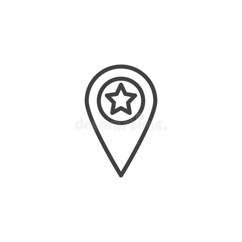 Mapa pointeru gwiazdy linii ikona ilustracja wektor