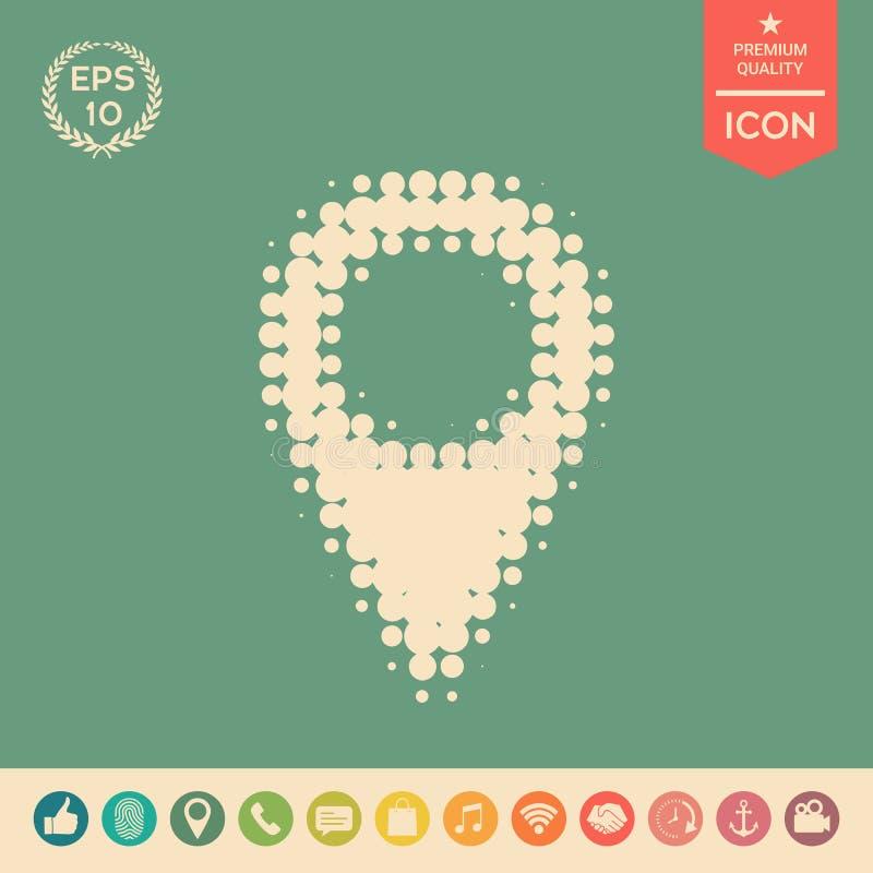 Mapa pointeru halftone logo royalty ilustracja