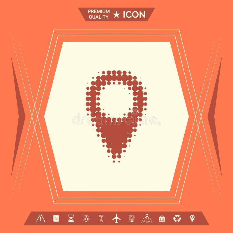Mapa pointeru halftone logo ilustracji