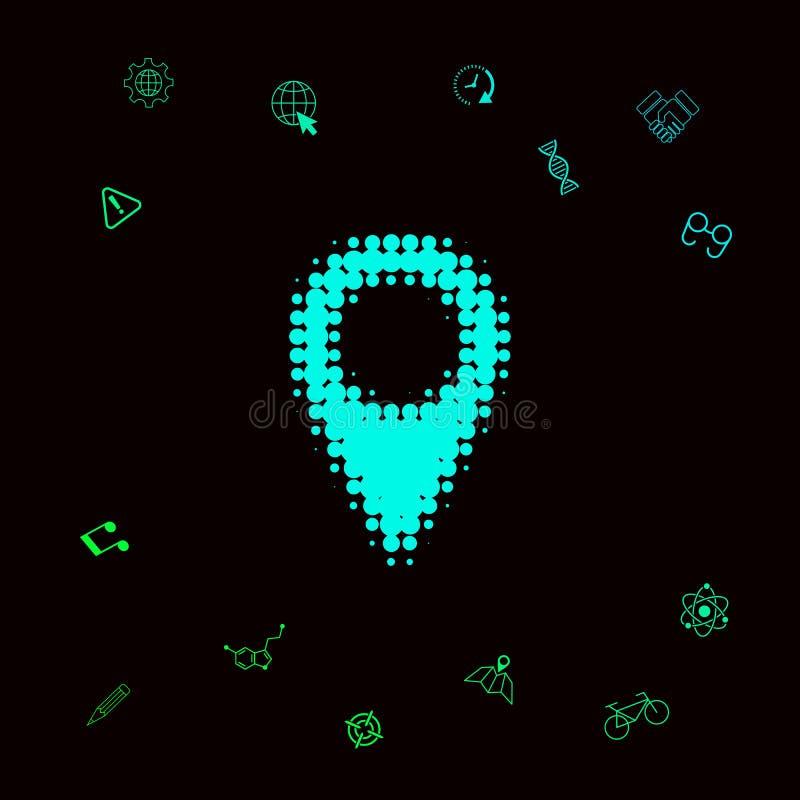 Mapa pointeru halftone logo Graficzni elementy dla twój designt ilustracja wektor
