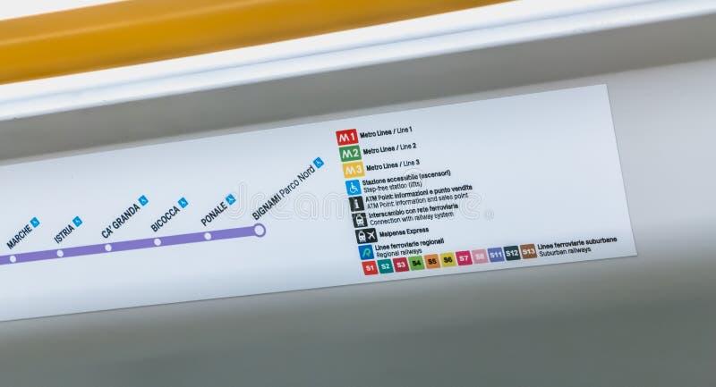 Mapa pokazuje stacje M5 linia Mediolan fotografia stock