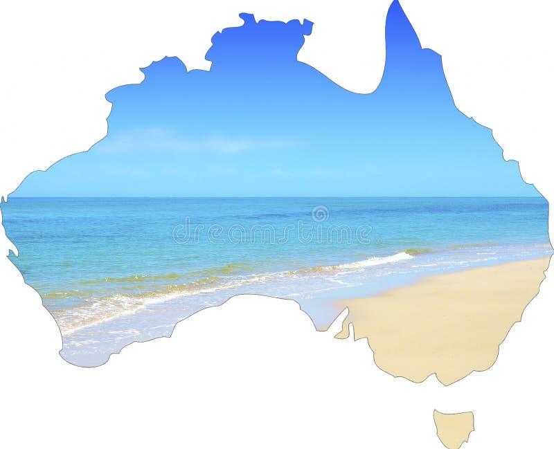 Mapa pokazuje szeroką szeroko otwarty piaskowatą plażę Australia zdjęcia stock