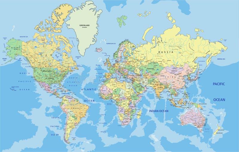 Mapa político altamente detalhado do mundo ilustração royalty free