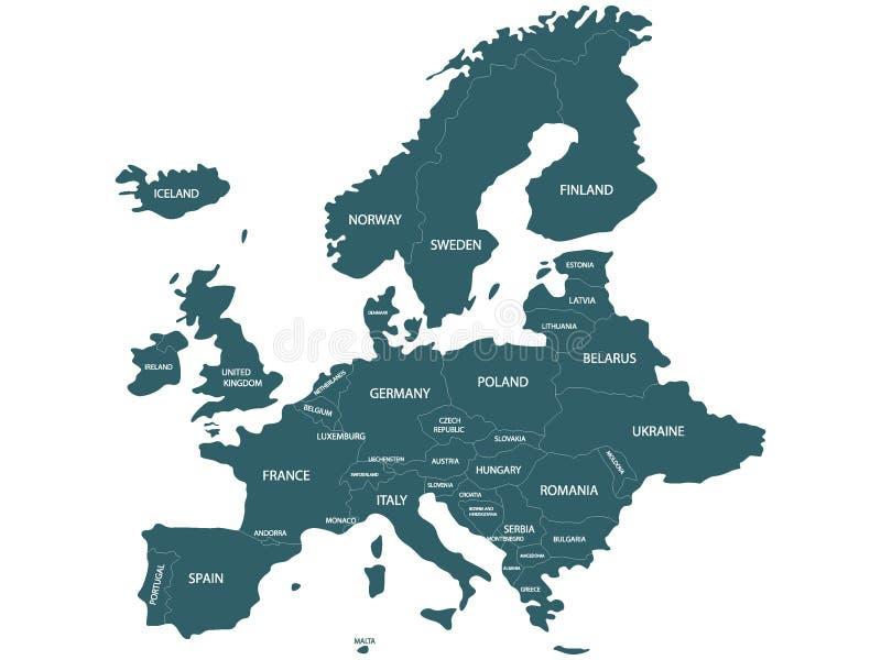 Mapa pol?tico azul simplificado de Europa ilustración del vector