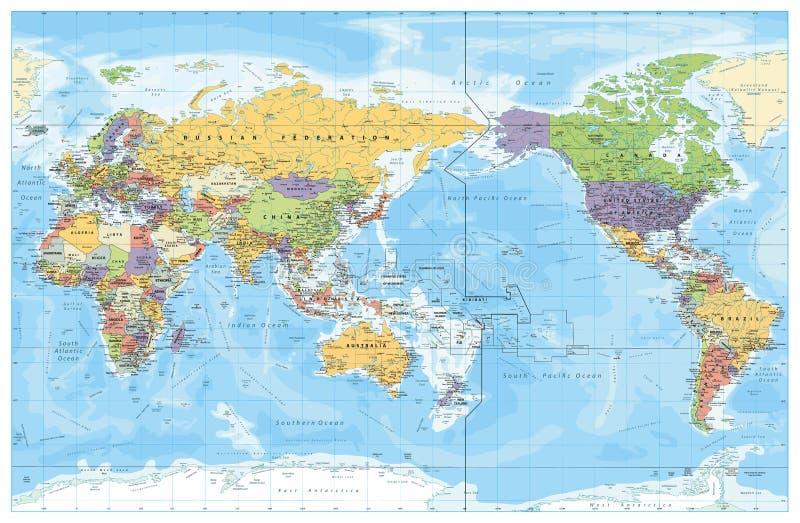 Mapa político centrado pacífico do mundo ilustração stock