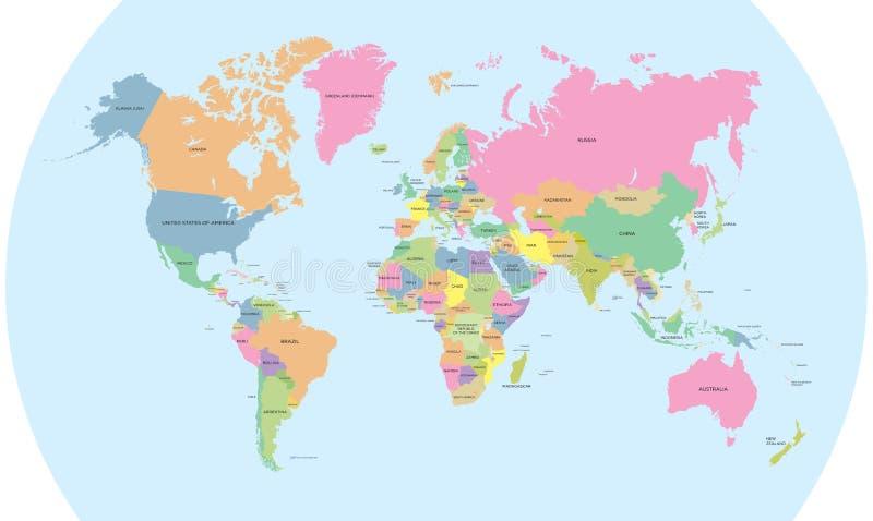 Mapa político colorido do vetor do mundo ilustração do vetor