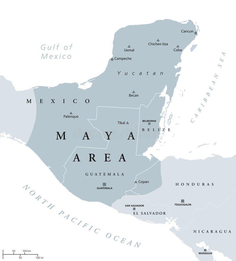Mapa político da área do Maya ilustração royalty free
