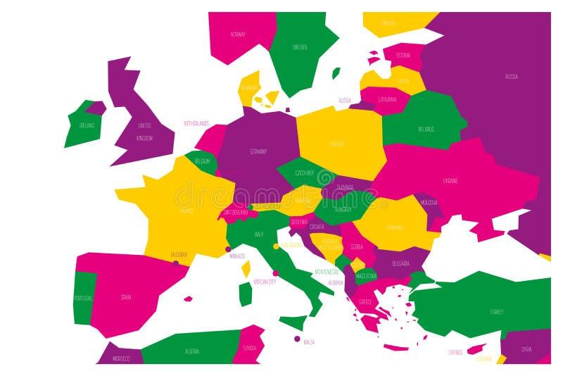 Mapa político da central e da TB0 0N Europa do Sul Mapa esquemático do vetor de Simlified no esquema de cores quatro ilustração do vetor
