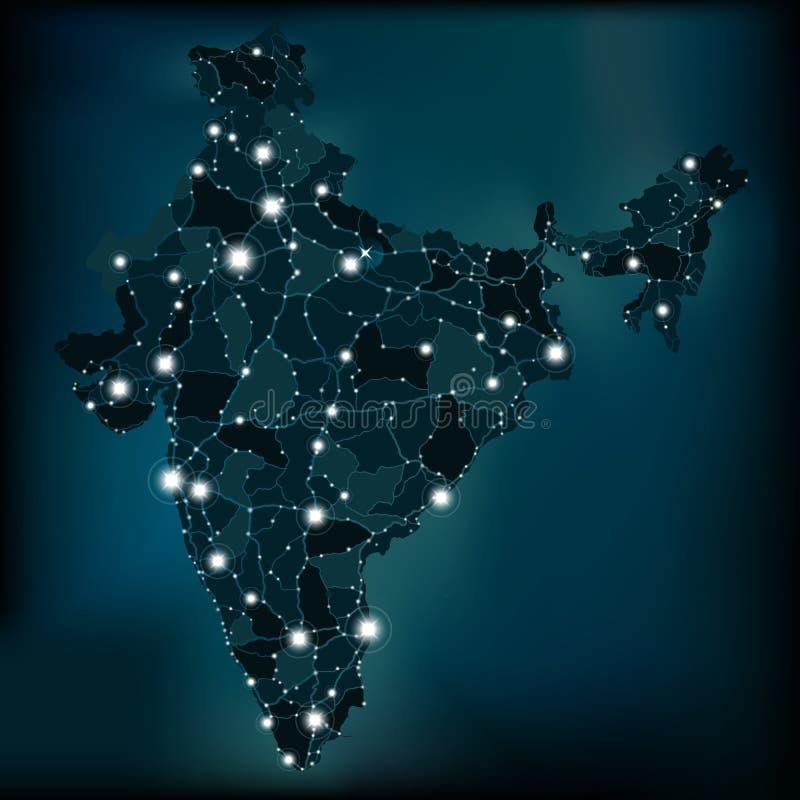 Mapa político da noite da Índia com luzes ilustração do vetor