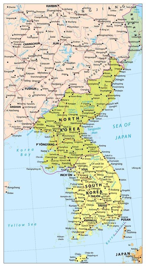 Mapa político da península da Coreia, mapa do Norte e Sul Coreia ilustração do vetor