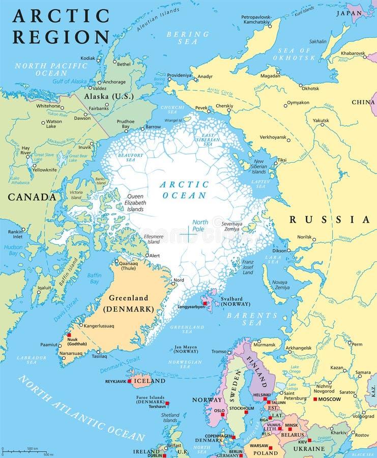 Mapa político da região ártica ilustração royalty free
