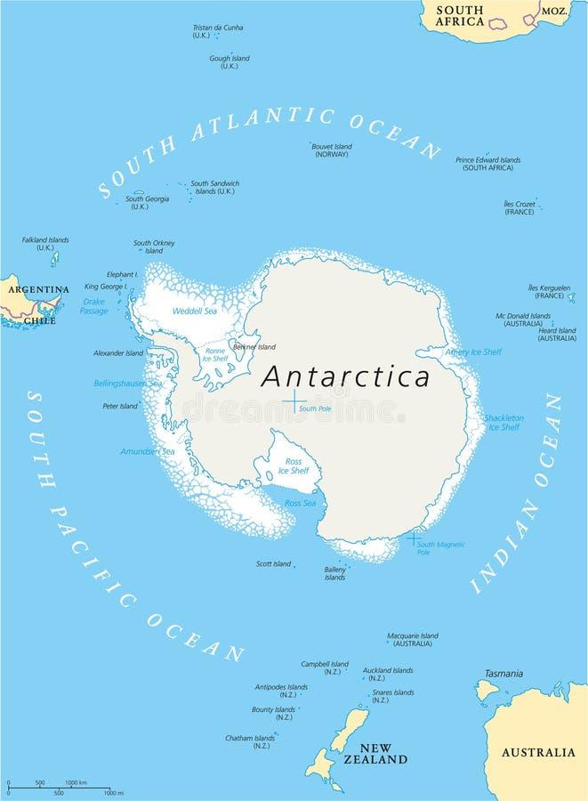 Mapa Politico Da Antartica Ilustracao Do Vetor Ilustracao De