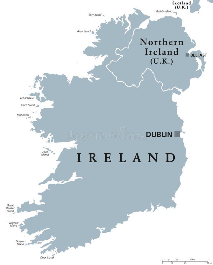 Mapa político da República da Irlanda e de Irlanda do Norte ilustração do vetor