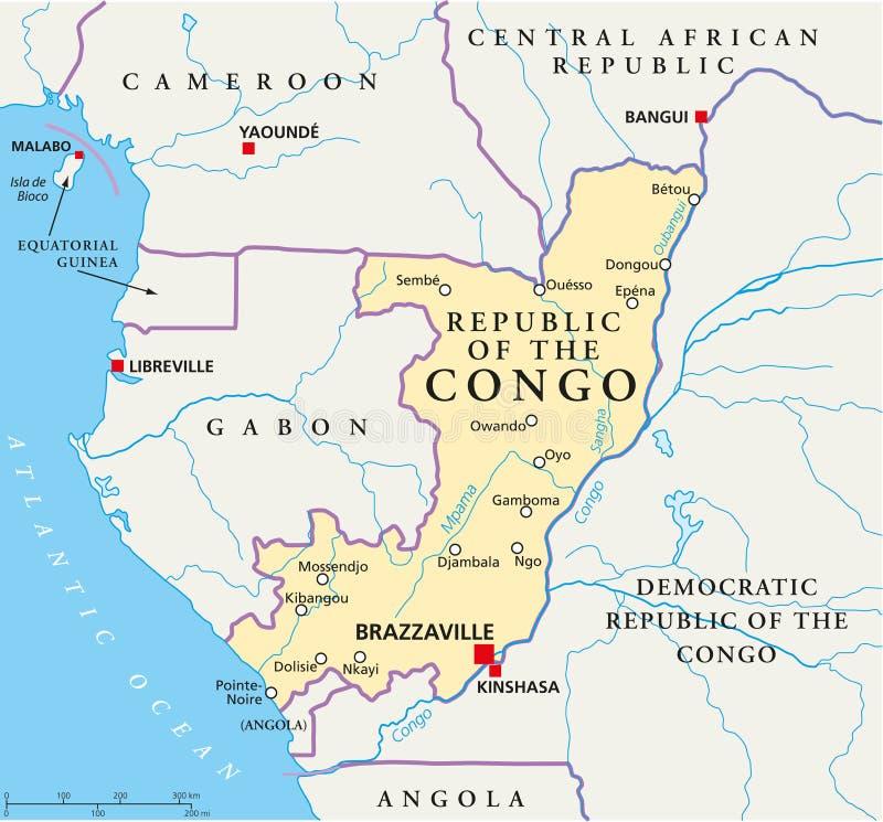 Mapa político da República Democrática do Congo ilustração do vetor