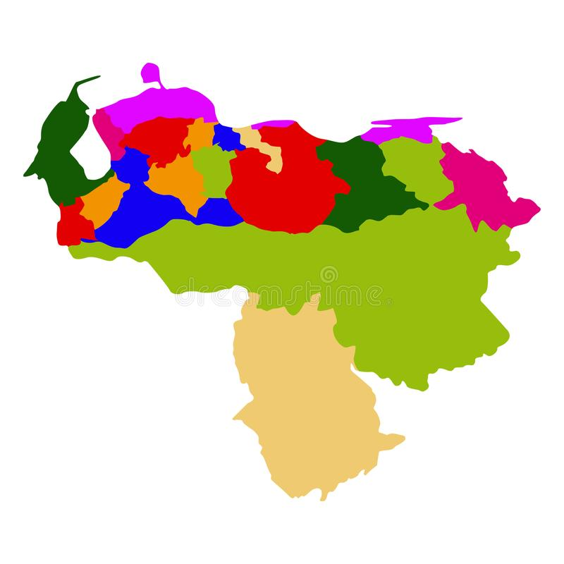 Mapa político da Venezuela ilustração stock