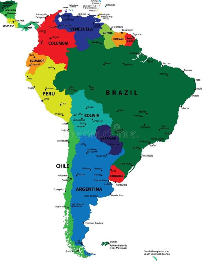 Mapa político de Ámérica do Sul ilustração do vetor