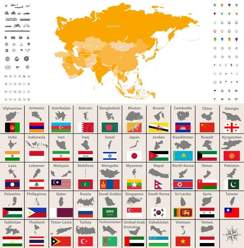 Mapa político de Ásia Ícones do lugar, da navegação e do curso Grupo do vetor dos mapas e das bandeiras dos países asiáticos ilustração royalty free
