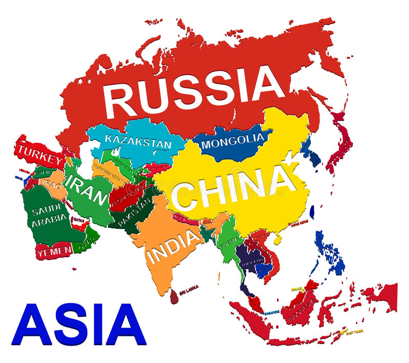 Mapa político de Ásia imagens de stock